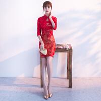 红色旗袍新娘敬酒服2018新款春季中国风回门服中式短款结婚礼服女