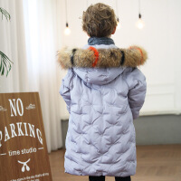 新款儿童羽绒服中长款白鸭绒中大童男女童大毛领童装加厚韩版外套