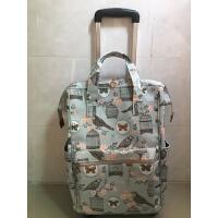 防水印花帆布手提拉杆包万向轮女行李箱登机20寸小清新短途行李袋