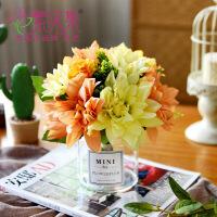 客厅透明玻璃小花瓶创意玫瑰花假花装饰品摆件餐桌花艺仿真花套装