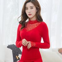 秋衣秋裤女套装修身紧身美体高领外穿保暖内衣薄款黑大红