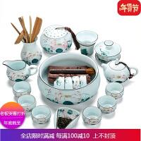 景德镇手绘功夫茶具整套家用青瓷茶壶手工荷花陶瓷套装青花瓷茶杯 +礼盒包装