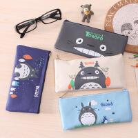 龙猫帆布笔袋可爱简约小学生男女文具盒铅笔袋卡通笔袋