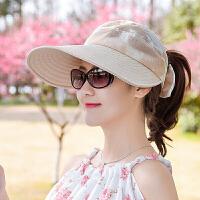 帽子女士夏天出游晒遮阳帽户外休闲骑车太阳帽可折叠空顶大沿帽 可调节
