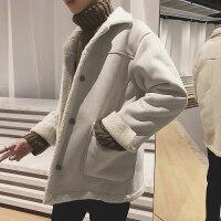 羊羔毛短款风衣男士2018冬季新款加厚棉大衣青年韩版潮流呢子外套
