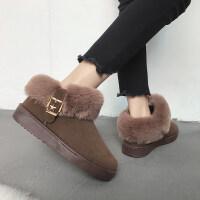 20190212051434361冬季新款冬鞋保暖加�q百搭�n版雪地靴女短筒短靴平底�W生棉鞋