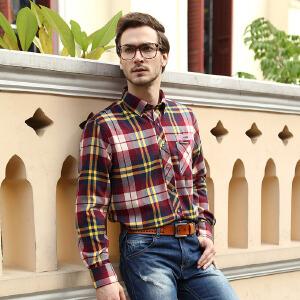 秋款男装长袖衬衣 英伦格调男式时尚磨毛衬衫 西雅图红黄格