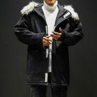 №【2019新款】冬天胖子穿的加厚中长款连帽棉衣棉袄男士加肥加大码潮牌宽松工装