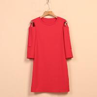 【迪】女新款春8K1111学生气质露肩直筒长袖连衣裙