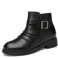 短靴女加绒靴子防滑马丁靴皮带扣单鞋皮软底 黑色 34-40