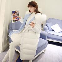 白色棉衣女中长款韩版冬季新款大毛领羽绒加厚棉袄外套