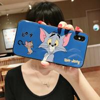 汤姆猫和老鼠苹果X/XS Max手机壳玻璃iphone7plus/8/6s女款XR挂绳 6/6S 玻璃 蓝底猫和老鼠
