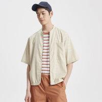 MECITY男装夏季纯色立领薄款衬衫式夹克男士短袖外套男