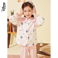 迪士尼女童童睡衣秋冬新款时尚卡通宝宝儿童家居服套装两件套