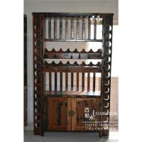 老船木家具酒柜实木酒吧酒柜中式悬挂红酒柜个性酒架地中海酒柜 双门