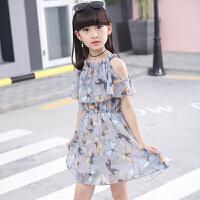 女童夏天连衣裙2018新款韩版套装中大童长款女孩夏季露肩公主裙子 灰色 (图片色)