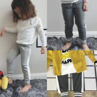 新款中小男女童裤子多色羊毛拉架杠子运动长裤子纯棉