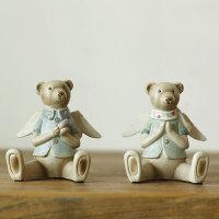 北欧可爱情侣树脂小熊娃娃创意摆设儿童房卧室装饰品小饰品摆件