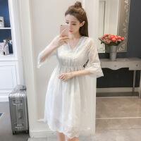 周冬雨明星同款2018夏季新款女装仙女沙滩裙雪纺连衣裙一件 白色