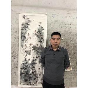 准美协会员杨西沐【竹林七贤 】小破,已托,180*40cm.带合影。品如图。