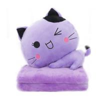 办公室抱枕被子两用靠垫被   靠枕毯  逗仔猫午睡枕头   珊瑚绒汽车空调被
