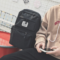 男生双肩包高中生书包男休闲帆布中学生男时尚潮流背包日韩电脑包