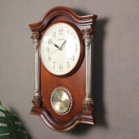 欧式钟表复古挂钟客厅时钟静音壁钟创意电子钟 中式表温度计 带温度计 20英寸