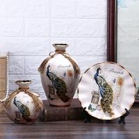 陶瓷花瓶三件套摆件创意插花器博古架家居干花玄关富贵竹酒柜摆设 白色 孔雀吉祥 大套