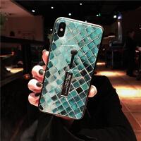 网红雷神支架iphone xs max苹果x手机壳玻璃8plus全包7个性6s女xr 7/8小屏 (雷神-鱼鳞)