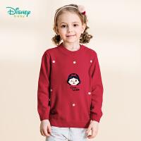【3件2.6折到手价:63】迪士尼Disney童装 女童甜美肩开长袖毛衣秋季新品公主纯棉针织衫193S1275