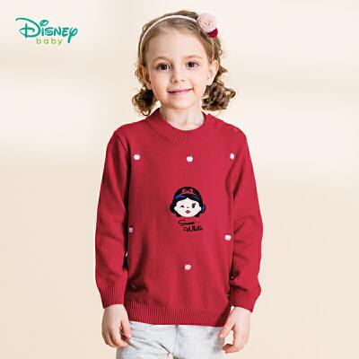 迪士尼Disney童装 女童甜美肩开长袖毛衣秋季新品公主纯棉针织衫193S1275 纯棉针织,柔软舒适