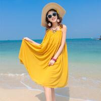 2018大码宽松胖mm吊带雪纺海边度假沙滩裙中长款连衣裙 明黄色 S
