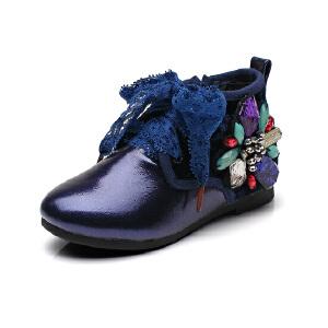 比比我秋季新款女童小学生系带休闲鞋女童韩版钉珠高帮儿童鞋潮