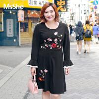 MSSHE加肥大码女装2017新款秋装200斤胖mm绣花修身连衣裙M1740148