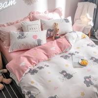 个性1.2m网红男孩家用床单四件套1.8m床床上粉色旅馆水洗棉青年