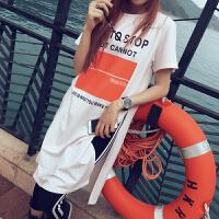 春夏韩版新款大码宽松显瘦开叉女士中长款T恤短袖纯棉打底衫潮 白色