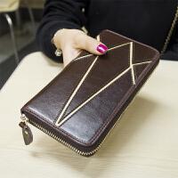 韩版新款拼接牛皮真皮钱包女士拉链长款钱包复古手拿钱夹