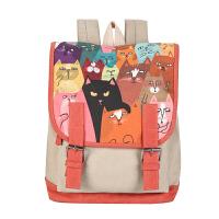 原宿风书包中学女帆布校园风可爱猫咪学生书包帆布包休闲背包森系