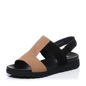 Teenmix/天美意夏专柜同款牛皮时尚撞色舒适平跟女凉鞋AO901BL7