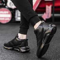 秋季男士高帮运动鞋全黑色男鞋子加绒休闲跑步鞋高邦棉鞋潮鞋冬季 全黑 主图款