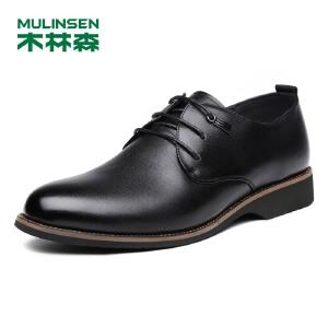 木林森男鞋 男士头层牛皮系带商务正装皮鞋 05377311