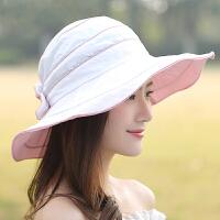 帽子女遮阳帽海边度假出游防紫外线太阳帽大沿檐可折叠凉帽沙滩帽