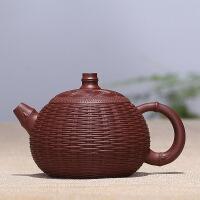 宜兴紫砂壶手工茶壶原矿紫泥茶具竹编西施壶 竹编西施