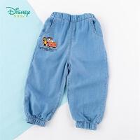 【2件3折到手价:67.5】迪士尼Disney童装 男童浅蓝牛仔裤年春季新品闪电麦昆印花裤子儿童薄款长裤柔软