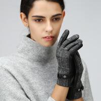 羊毛手套男士触屏加绒加厚冬季保暖骑车开车摩托车 羊皮手套女