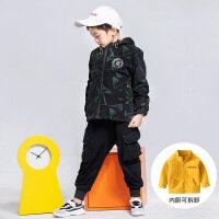 男童外套加绒2018新款儿童防风衣加厚可拆卸中大童秋冬装冲锋衣潮