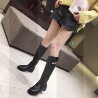 长靴女不过膝18秋冬粗跟瘦瘦靴街拍时尚网红显瘦高筒靴加绒白色SN5078