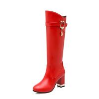 2018新款高靴骑士靴女长靴秋冬季靴子长筒靴女鞋高跟鞋粗跟及膝靴真皮