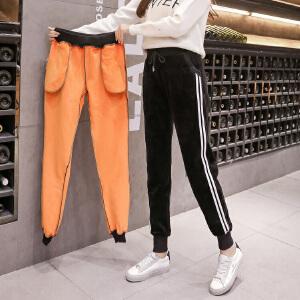 冬季新款金丝绒休闲裤加绒加厚保暖哈伦裤�S金绒侧条纹运动裤