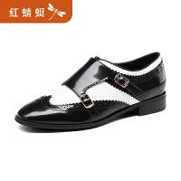 【红蜻蜓限时秒杀,满额领�辉偌�10元】金粉世家 红蜻蜓旗下 秋季新款正品拼色布洛克套脚时尚女鞋